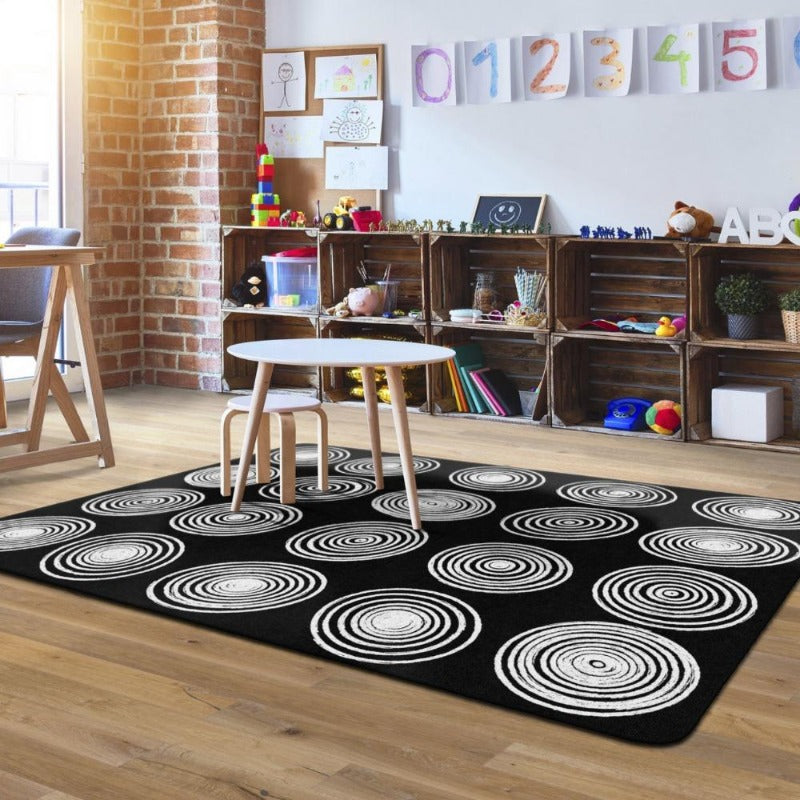 Flagship Circles Black and White Seating Rug