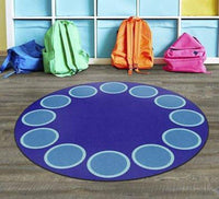 Be Bold Circles Blue 6' Round Rug