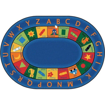 Bilingual Oval Rug