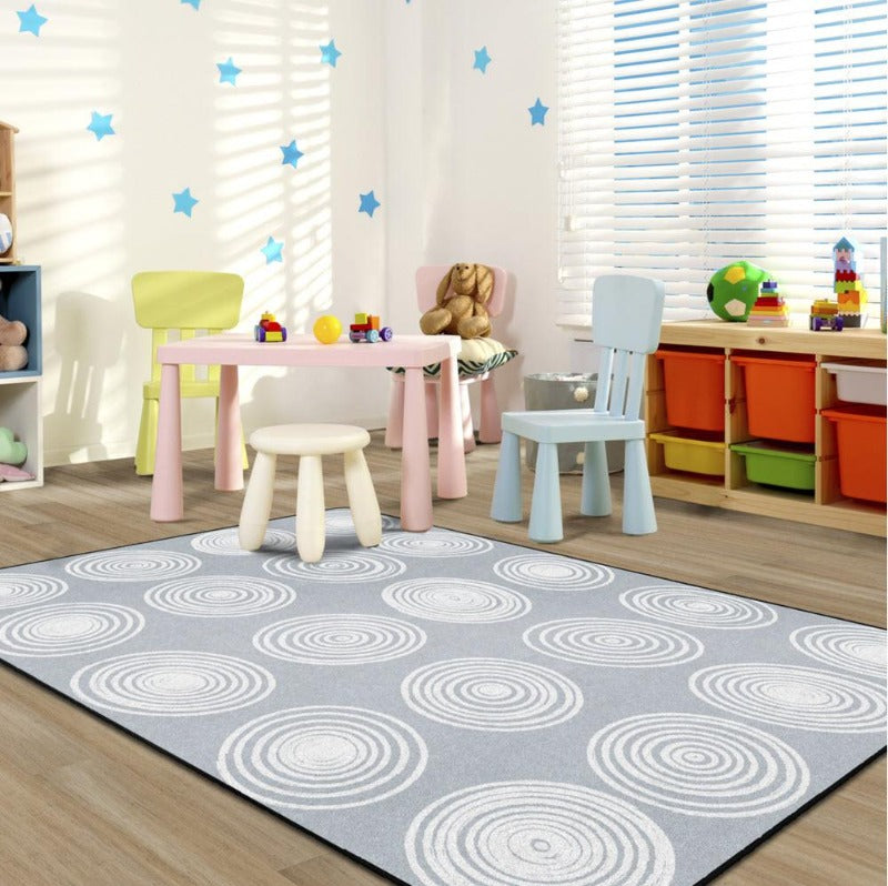 cirlces gray and white rug