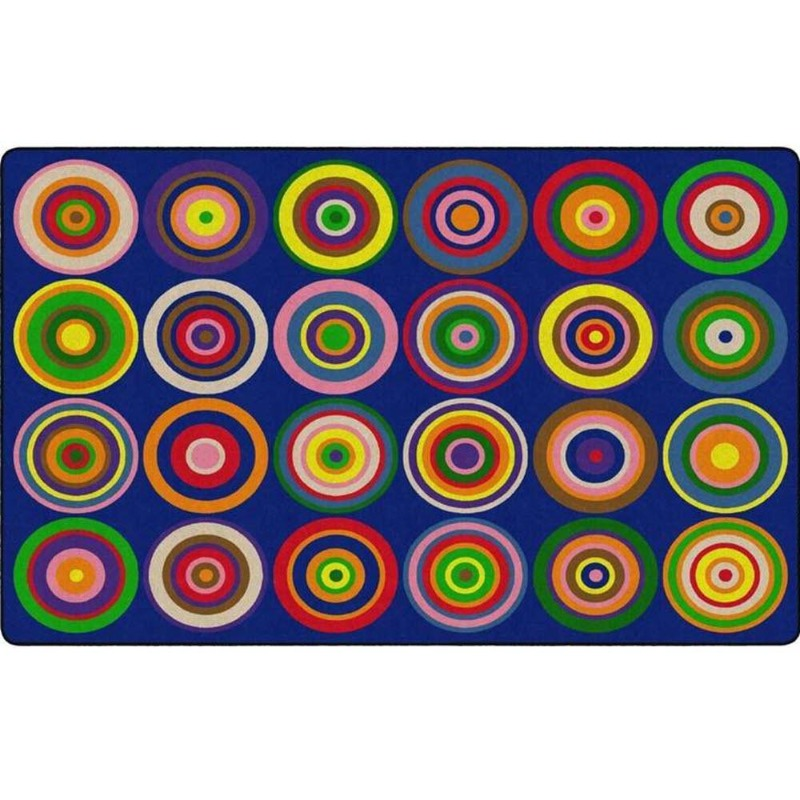Color Rings Indigo Seating Rug