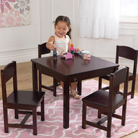 Espresso Square Farmhouse Table w/ 4 Chairs