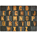 Gray Rustic Wood Literacy Rug
