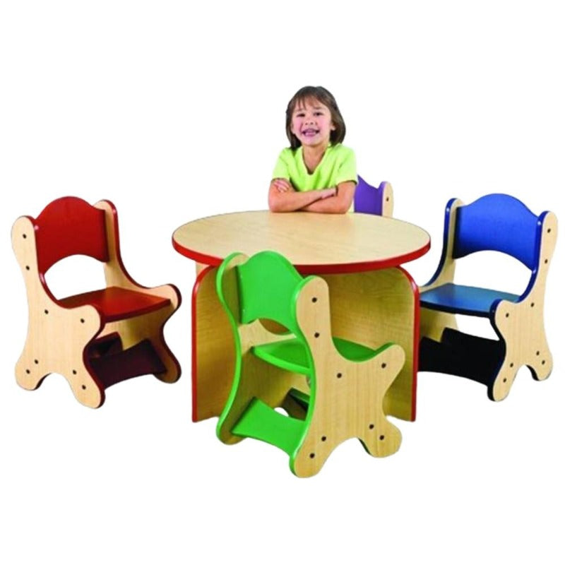 Harmony Park Table & 4 Blue Chairs Set