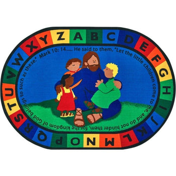 Jesus Loves the Little Children Oval Rug