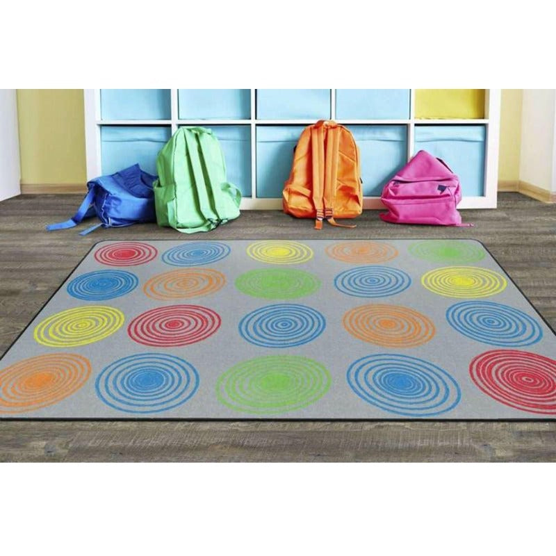 Multi Color Circles with Gray Area Rug