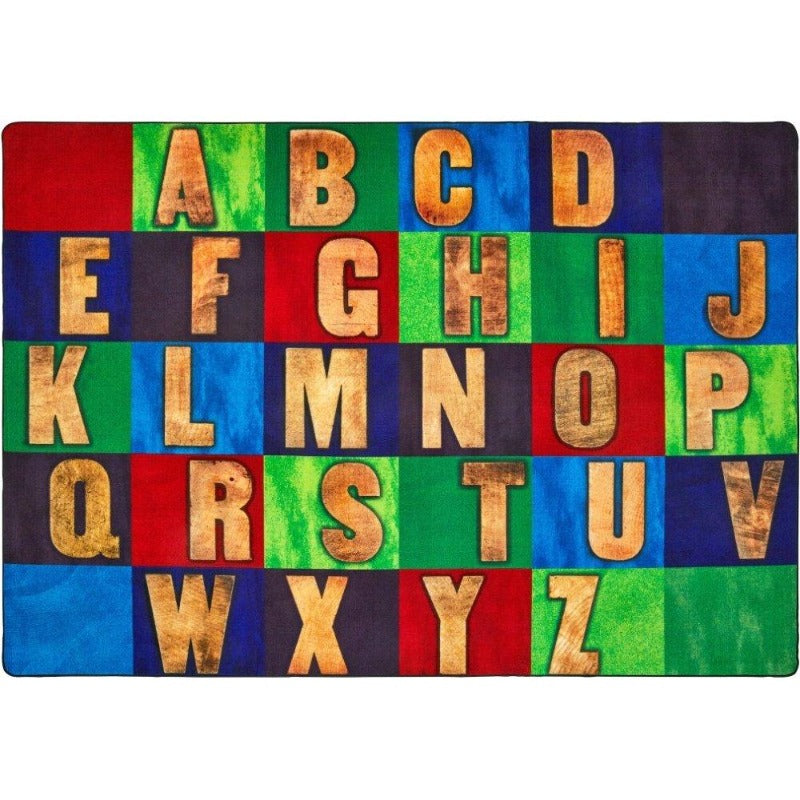Primary Rustic Wood Literacy Rug