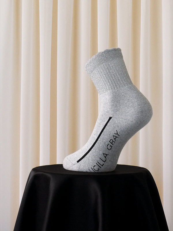 COTTON LUREX SOCKS | GREY