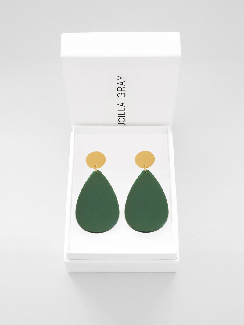 AURORA EARRINGS LARGE | GREEN TINT