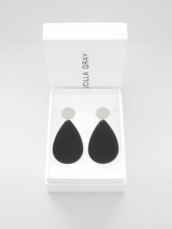 AURORA EARRINGS LARGE | DARK GREY TINT