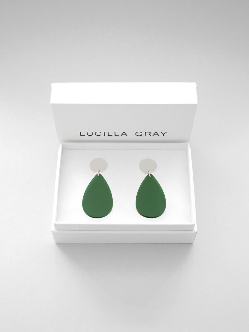 AURORA EARRINGS SMALL | GREEN TINT