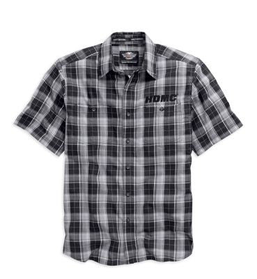 96458-15VM H-D® Mens Winged Willie G Skull Washed Plaid Short Sleeve Woven Shirt