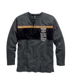 96437-15VM H-D Mens Patent Dates B&S Embroidered Grey Long Sleeve Henley