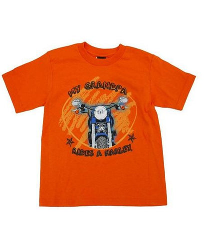 0474224 H-D Boys' Orange T-Shirt My Grandpa Rides A Harley