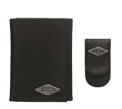 97604-14VM H-D Badge Wallet & Money Clip Black Leather Gift Set