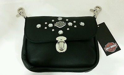 HD601 H-D® Womens Clip Pouch Studded Rhinestone Black Leather Hip Bag