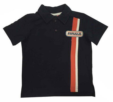 1081531 H-D® Boys Youth Pique Front Stripe Polo