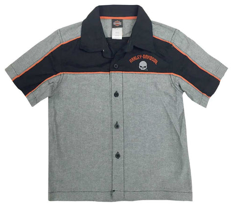 1081728  H-D® Little Boys' Embroidered Woven Button Shop Shirt Black