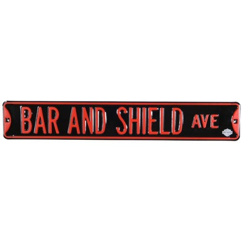 10902051 H-D Embossed Steel Street Sign - Bar & Shield Ave