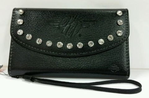06913 H-D® iPhone 5 Winged B&S with Rhinestones Black Wallet Case