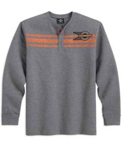 96553-14VM H-D® Mens Triple Stripe Knit LS Henley Shirt Gray