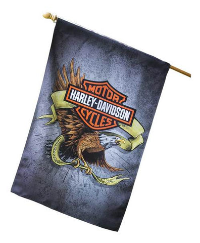 13S4920FB H-D Suede Legendary Eagle House Flag, Double Sided