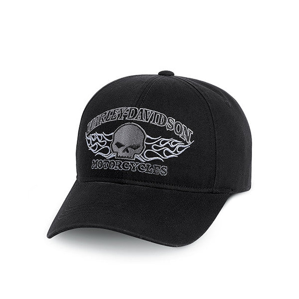 99439-13VM H-D Men's Skull w/Flames Fitted Baseball Cap