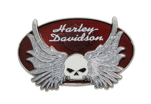 181115 H-D® Glitter Willie G Skull Wings Oval Pin