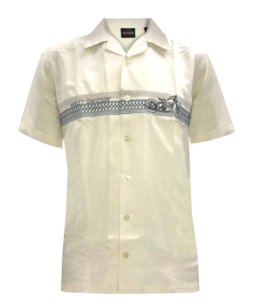 1903-3749-101 Harley-Davidson® Mens On Track Motorcycle Off White Short Sleeve Woven Shirt
