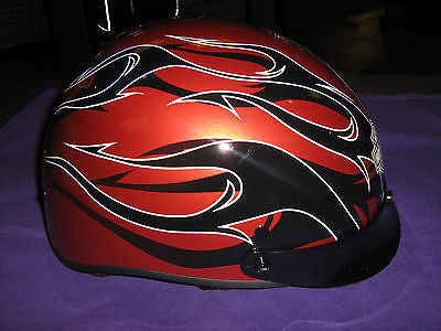 97316-08V H-D Men's Large Black Tails Vintage Orange 1/2 Helmet