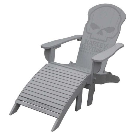 HDL-10070 H-D Willie G Skull Adirondack Chair & Footrest Set, Gray