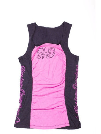 V5W21-HA4N H-D Womens Dangerous Hearts Square Neck with Ruching Pink Sleeveless Tank