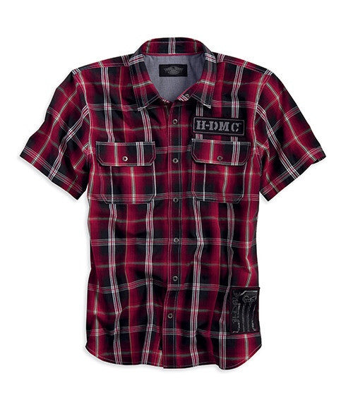 99098-13VM Harley-Davidson® Men's Black Label Plaid Shirt with Patches Slim Fit