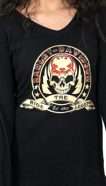 302942090  H-D® Women Ride The Legend Skull Banner Hooded LS Thermal