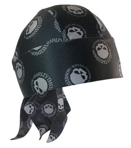HW102930 H-D Men's Headwrap, Repeated Willie G Skull Hubcap, Black