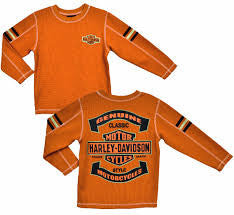 3381488-5  H-D® Boys Youth B&S Orange Long Sleeve Thermal