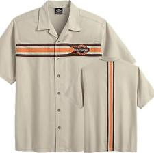 96558-14VT H-D® Men's Triple Chest Stripe Performance Khaki SS Woven Shirt