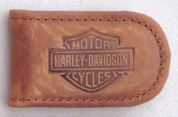 HD09-T H-D Embossed B&S Brown Leather Magnetic Money Clip
