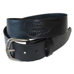 HDMBT10585 H-D® Mens Pack Up & Ride Winged Trademark B&S Black Leather Belt