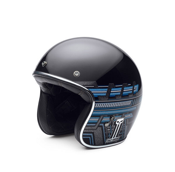 H-D® Men's #1 Skull Logo Gloss Black 3/4 Face Helmet   97300-15VM