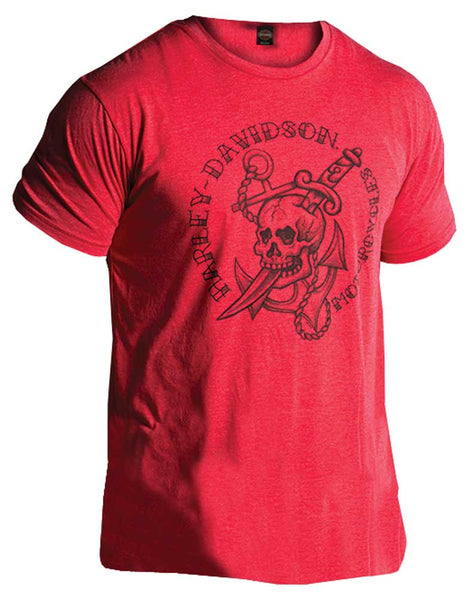 B302937480 H-D Men's Nautical Skull Short Sleeve T-Shirt, Vintage Red