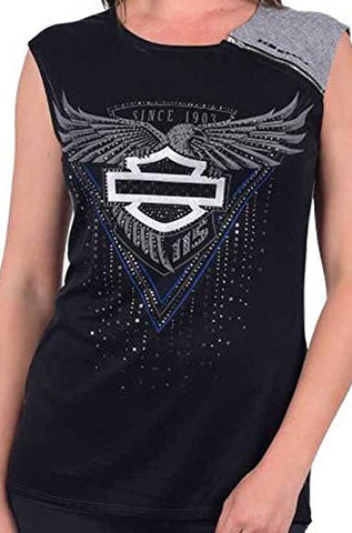HT4087BLK🔹H-D Womens 115th Anniversary Embellished Sleeveless Scoop Neck Shirt