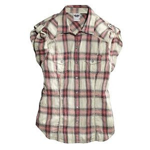 96054-15VW H-D® Women's Lace Inset Plaid Shirt