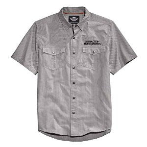 96481-15VM H-D® Men's HDMC Performance Striped Woven Shirt, Charcoal