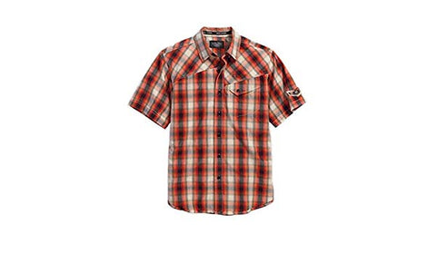 96105-16VM H-D Mens Enzyme Washed Winged Skull Orange Plaid Short Sleeve Woven Shirt