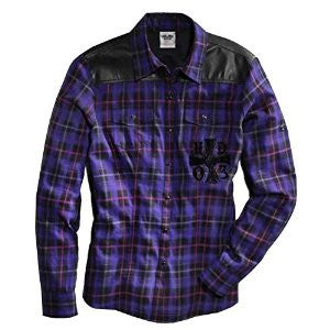 96113-16VW H-D® Women's Faux Leather Yoke Roll Tab Plaid Shirt
