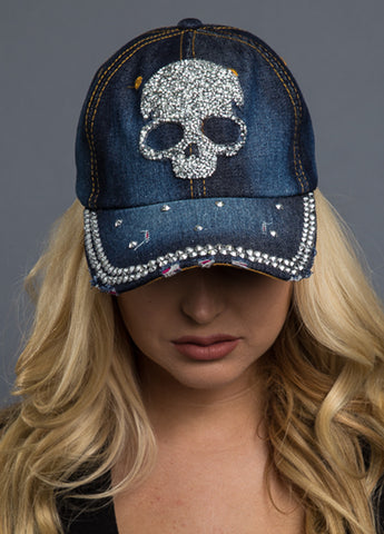 52001H H-D Women's Bling Skull Blue Denim Baseball Cap