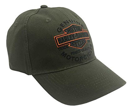 BCC31253-SD H-D Men's Embroidered Long Bar & Shield Baseball Cap, Olive