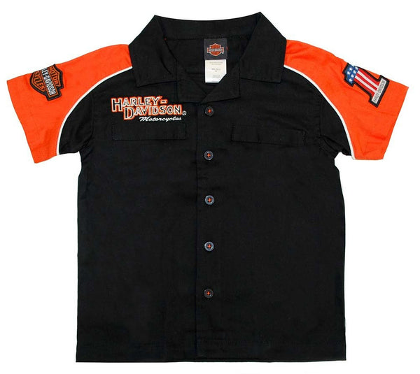 0381474 H-D® Boy's Pit Crew Orange & Black Shirt