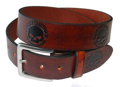 HD283-C Harley-Davidson® Mens Circle Skull Embossed Brown Leather Belt